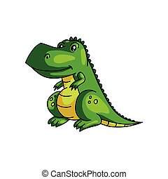 Cute smiling green colorful dinosaur with yellow color