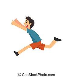 Cute Smiling Happy Boy Running Cartoon Vector Illustration