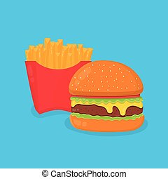Cute smiling happy french fries. Vector