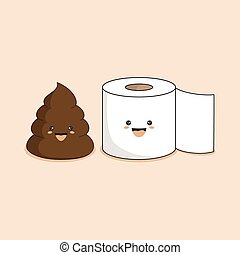 cute smiling happy funny poop and toilet paper roll