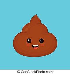 Cute smiling happy funny poop. Vector