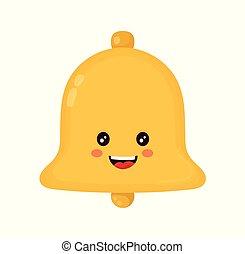 Cute smiling happy gold bell. Vector flat