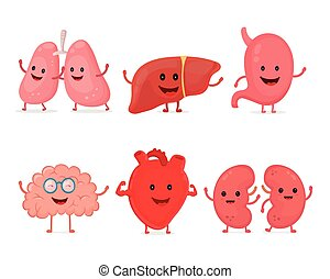 Cute smiling happy human healthy strong organs set. Vector...