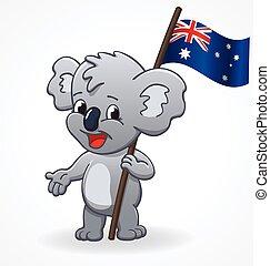 cute smiling happy koala holding australian flag vector