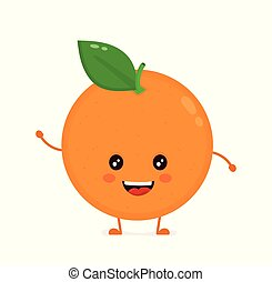 Cute smiling happy orange. Vector flat