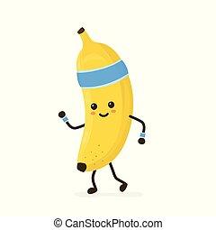 Cute smiling happy strong banana running