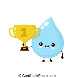 Cute smiling happy water drop hold trophy cup