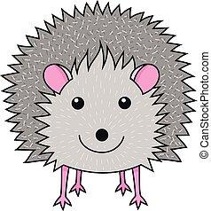 Cute smiling hedgehog art print decoration