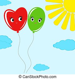 cute smiling isolated colored balloons on a blue background with clouds and a yellow sun. Simple flat vector illustration. Suitable for decoration of greeting cards, magazines.