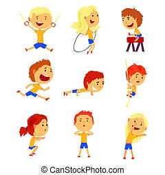 Cute smiling kids doing sports set. Activity kids playing cartoon colorful cartoon Illustrations