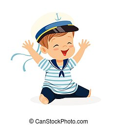 Cute smiling little boy character wearing a sailors costume sitting on the floor colorful vector Illustration