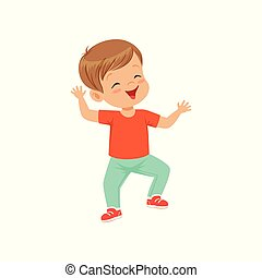 Cute smiling little boy dancing in casual clothes vector Illustration on a white background