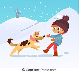 Cute smiling little boy playing with the dog at the neighborhood in winter. Boy and his friend dog running through the garden. Winter holidays activities. Best friend concept. illustration.