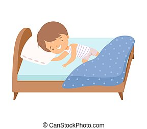 Cute Smiling Little Boy Sleeping Sweetly in His Bed Vector Illustration