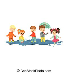 Cute smiling little boys and girls jumping and splashing through the puddles, kids playing in the rain cartoon vector Illustration