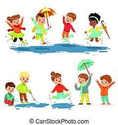 Cute smiling little kids playing on puddles, set for label design.