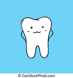 Cute smiling molar tooth. Adorable mascot or funny symbol for dental clinic or orthodontic center. Amusing cartoon character isolated on blue background. Colorful vector illustration in flat style.