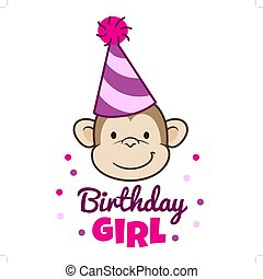 """Vector hand drawn cartoon character illustration of a smiling monkey face wearing a pink stripy party hat, with caption below that reads """"Birthday Girl"""". Design element for birthday card or invitation"""