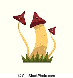 Cute smiling mushroom characters with funny faces vector Illustration on a white background