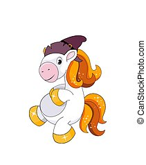 Cute smiling pony with witch hat isolated on white background. Halloween theme