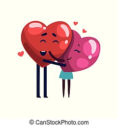 Cute smiling red and pink hearts characters embracing, funny couple in love. Happy Valentines Day concept cartoon vector Illustration