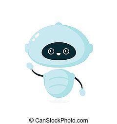 Cute smiling robot, bot. Vector