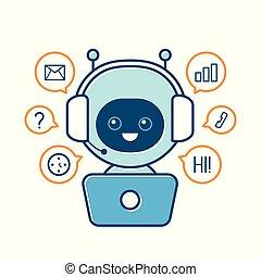 Cute smiling robot, chat bot