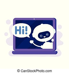 Cute smiling robot, chat bot in laptop
