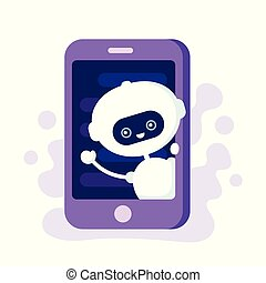 Cute smiling robot, chat bot in smartphone