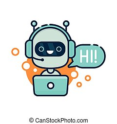 Cute smiling robot, chat bot say hi. Vector modern line outline flat style cartoon character illustration. Isolated on white background. Speak bubble. Voice support, virtual online help support concept