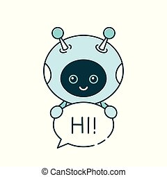 Cute smiling robot, chat bot say