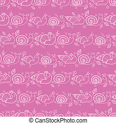 Cute smiling snails pink stripes seamless pattern background