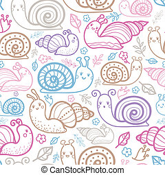 Cute smiling snails seamless pattern background with hand...