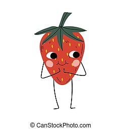 Cute Smiling Strawberry , Cheerful Berry Character with Funny Face Vector Illustration