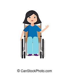 Cute smiling student girl in jeans stay in wheelchair