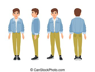 Cute smiling teenage boy, teen or teenager dressed in green jeans and denim jacket. Flat cartoon character isolated on white background. Front, side and back views. Colorful vector illustration.