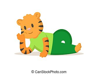 Cute smiling tiger lying, cartoon character. Flat vector illustration, isolated on white background.