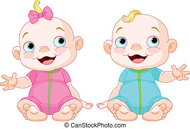 Cute smiling twins - A cute baby girl and baby boy smiling