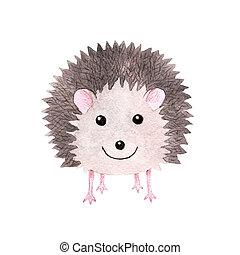 Cute smiling watercolor hedgehog - Cute smiling watercolor...