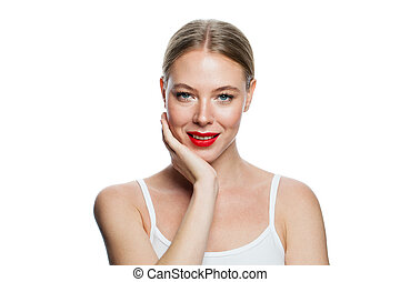Cute smiling woman isolated on white background