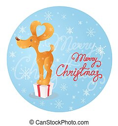 Cute smiling yellow dog standing on the gift box. Blue background with snowflakes. Merry Christmas.