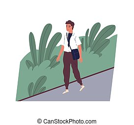 Cute smiling young man going to work. Happy male character walking on city street. Morning activity of clerk or office worker. Start of day. Colorful vector illustration in flat cartoon style.