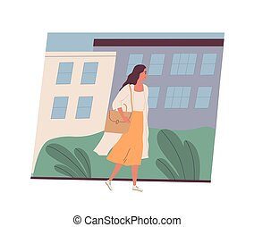 Cute smiling young woman going to work. Happy female character walking on city street. Morning activity of clerk or office worker. Start of day. Colorful vector illustration in flat cartoon style.