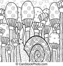 Cute snail adult coloring book page.