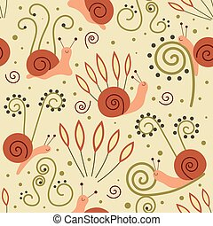 Cute snail animal vector seamless pattern. Slow cochlea baby character with plants and dots. Flat design cartoon style nature endless texture. Vector illustration.