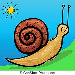 cute snail cartoon illustration - cartoon illustration of...