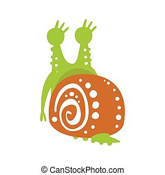 Cute snail character back view, funny mollusk colorful hand drawn vector Illustration