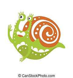 Cute snail character, funny mollusk colorful hand drawn vector Illustration