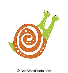 Cute snail character looking up, funny mollusk colorful hand drawn vector Illustration