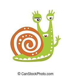 Cute snail character waving its hand, funny mollusk colorful hand drawn vector Illustration